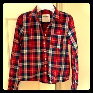 Abercrombie kids cotton plaid shirt, girls size L